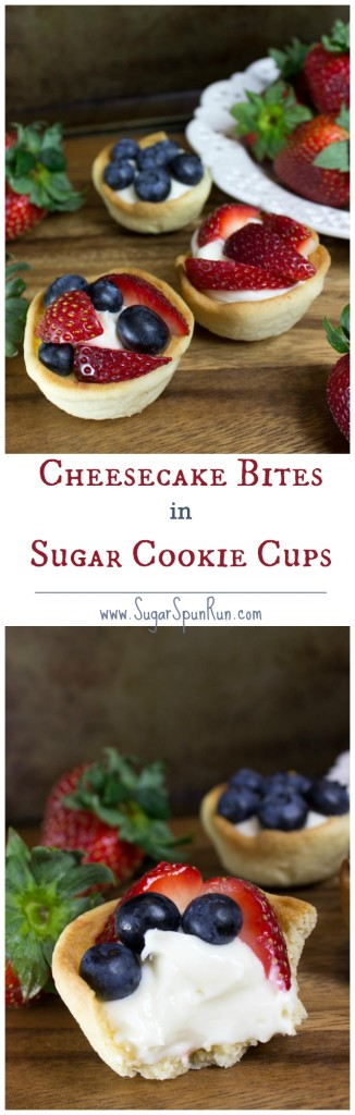Homemade sugar cookie cups filled with an easy no-bake cheesecake filling and topped with fresh fruit! SugarSpunRun