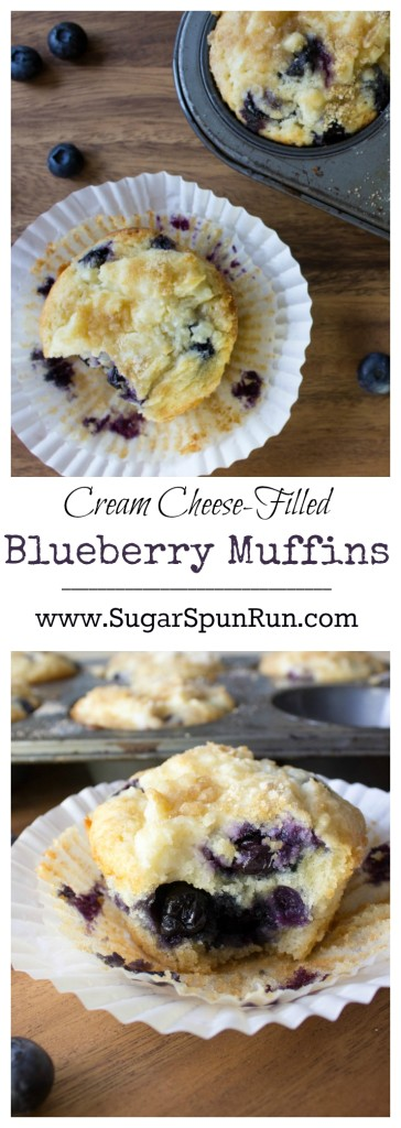 Blueberry Muffns with a rich cream cheese topping filling and streusel topping