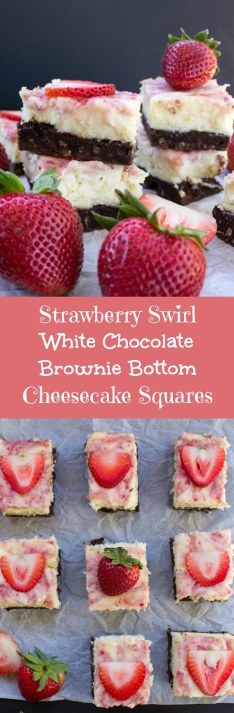 Strawberry Swirl White Chocolate Brownie Bottom Cheesecake Squares  SugarSpunRun