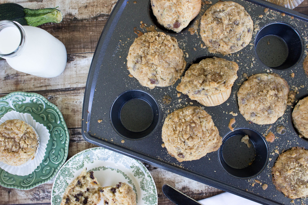 Chocolate Chip Zucchini Muffins with a brown sugar streusel topping