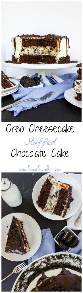 Cookies & cream cheesecake stuffed inside a fudgy chocolate cake