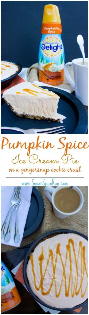 Easy, no-churn pumpkin spice ice cream pie on a 2-ingredient gingersnap cookie crust!