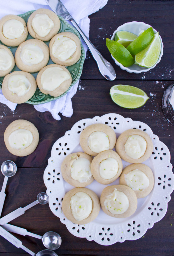 Key Lime Thumbprint Cookies-- key lime filling in buttery soft cookies. ||from SugarSpunRun