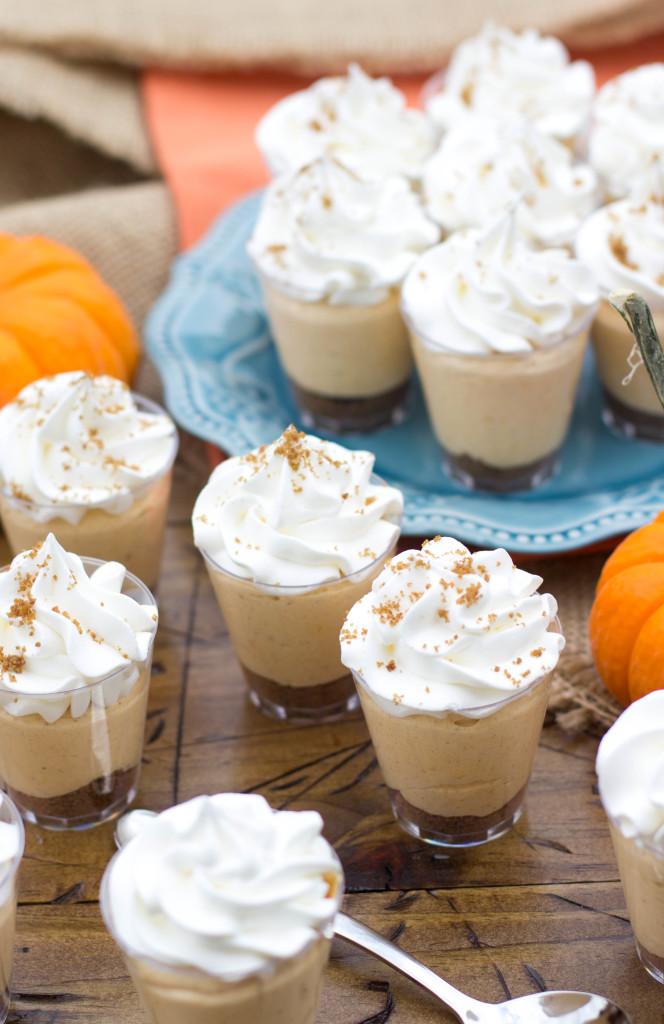 No-Bake Pumpkin Pie Cheesecake Dessert Shooters make for fun, festive desserts   SugarSpunRun