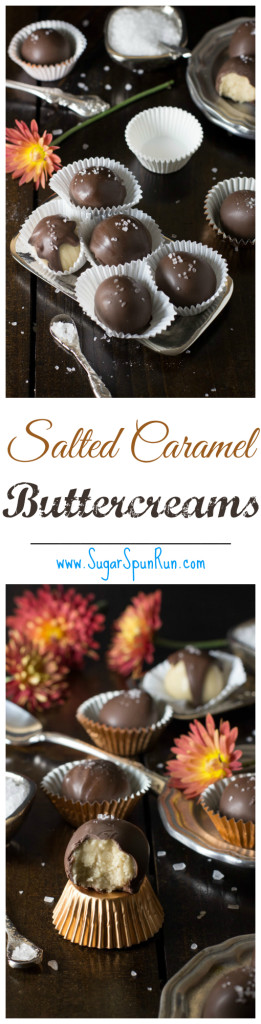 Salted Caramel Buttercreams--these are so easy! You make your own caramel but it's foolproof! SugarSpunRun.com