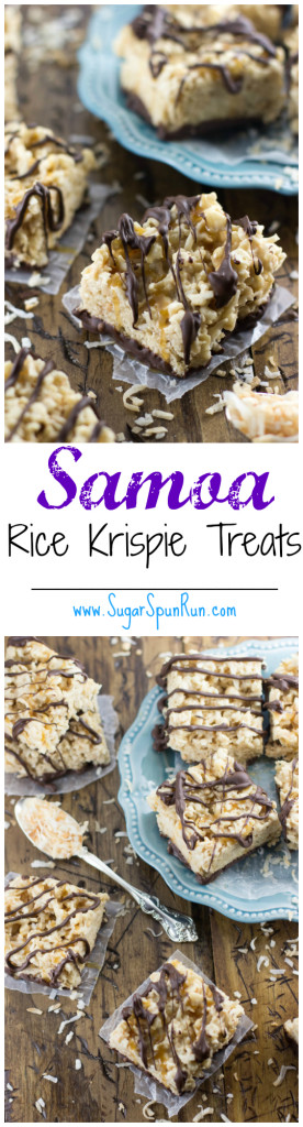 Samoa cookie-inspired rice krispie treats -- SugarSpunRun.com