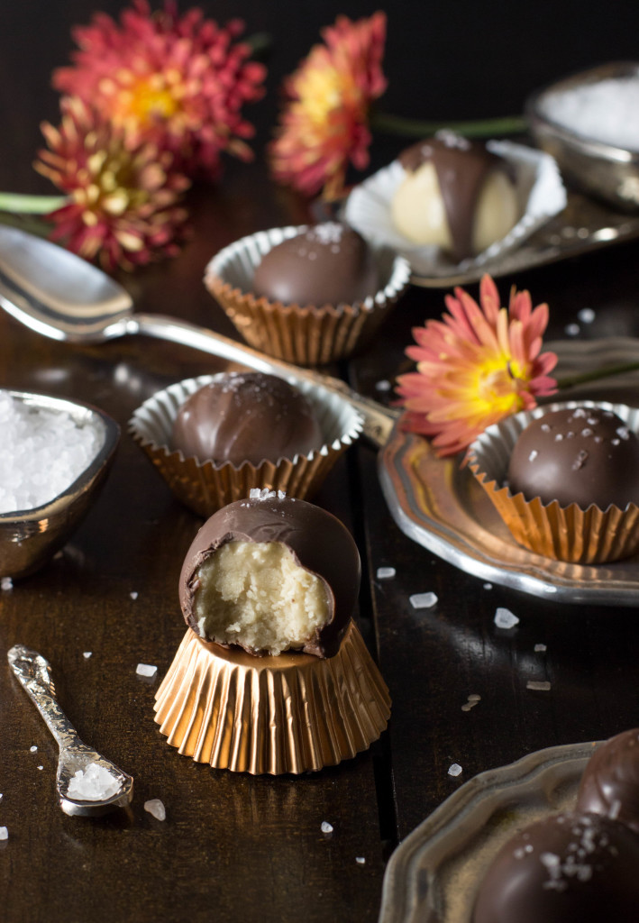 Easy, homemade caramel buttercreams cloaked in dark chocolate and sprinkled with crushed sea salt