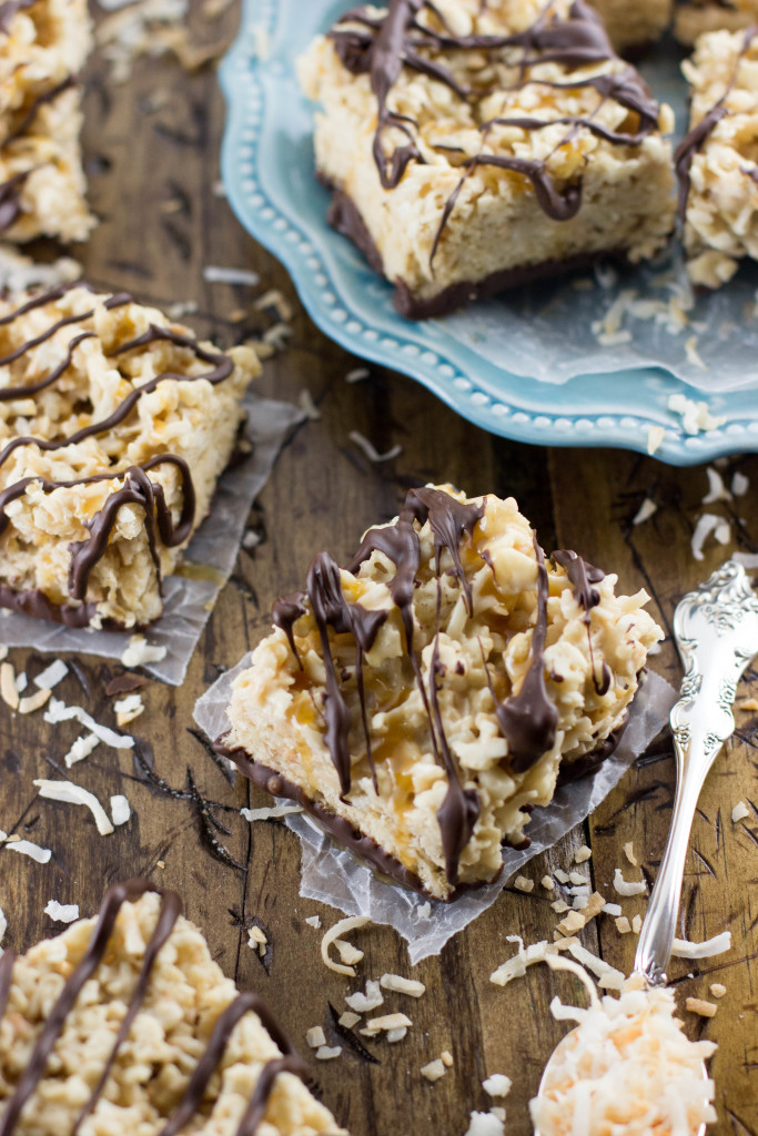 Samoa Rice Krispie Treats || SugarSpunRun