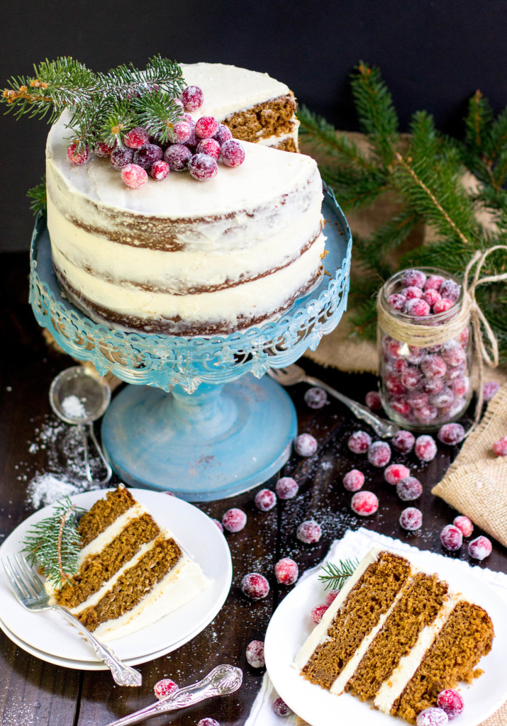 Gingerbread Layer Cake with Brown Sugar Bourbon Cream Cheese Frosting