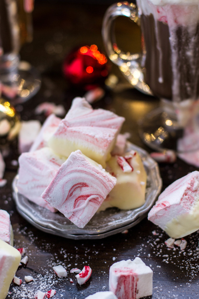 Homemade Peppermint Marshmallows dipped in white chocolate