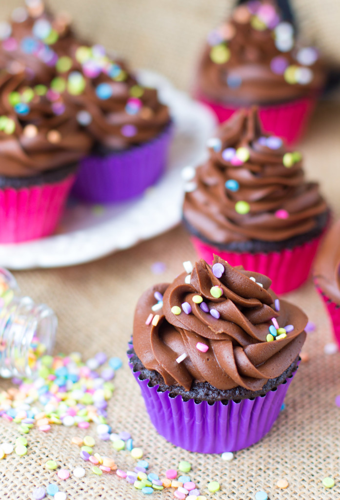 Easy Chocolate Cupcakes made in ONE BOWL - rich, moist, fudgy and way better and easier than box mix!