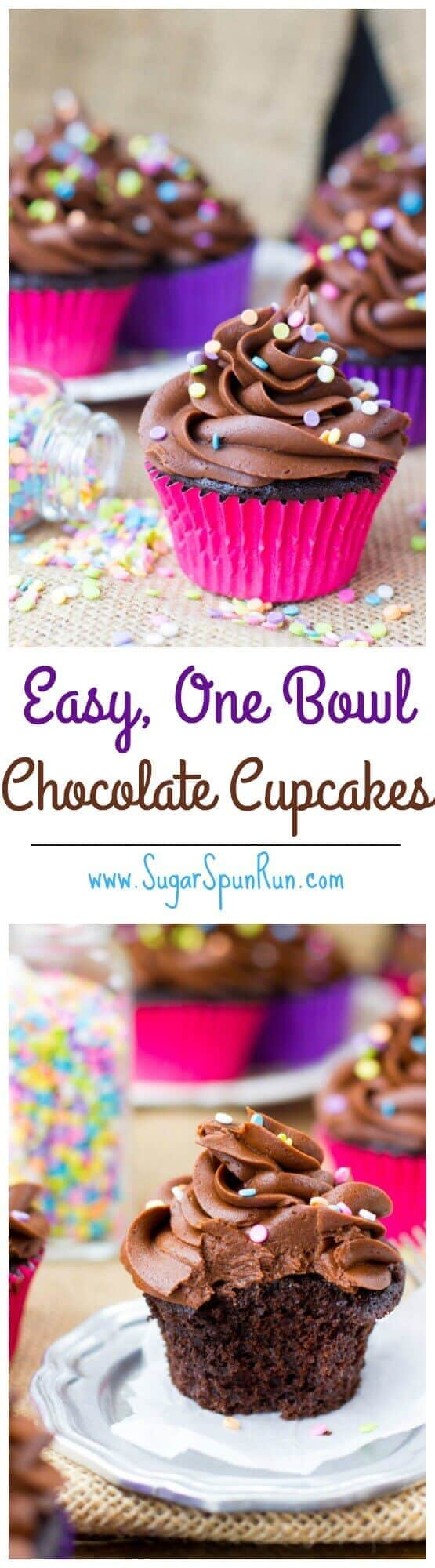 Ridiculously easy (only one bowl!) Chocolate Cupcakes via SugarSpunRun