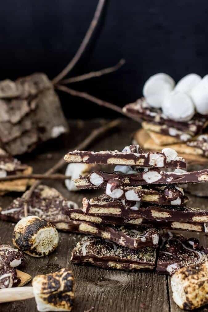 Dark Chocolate S'mores Bark