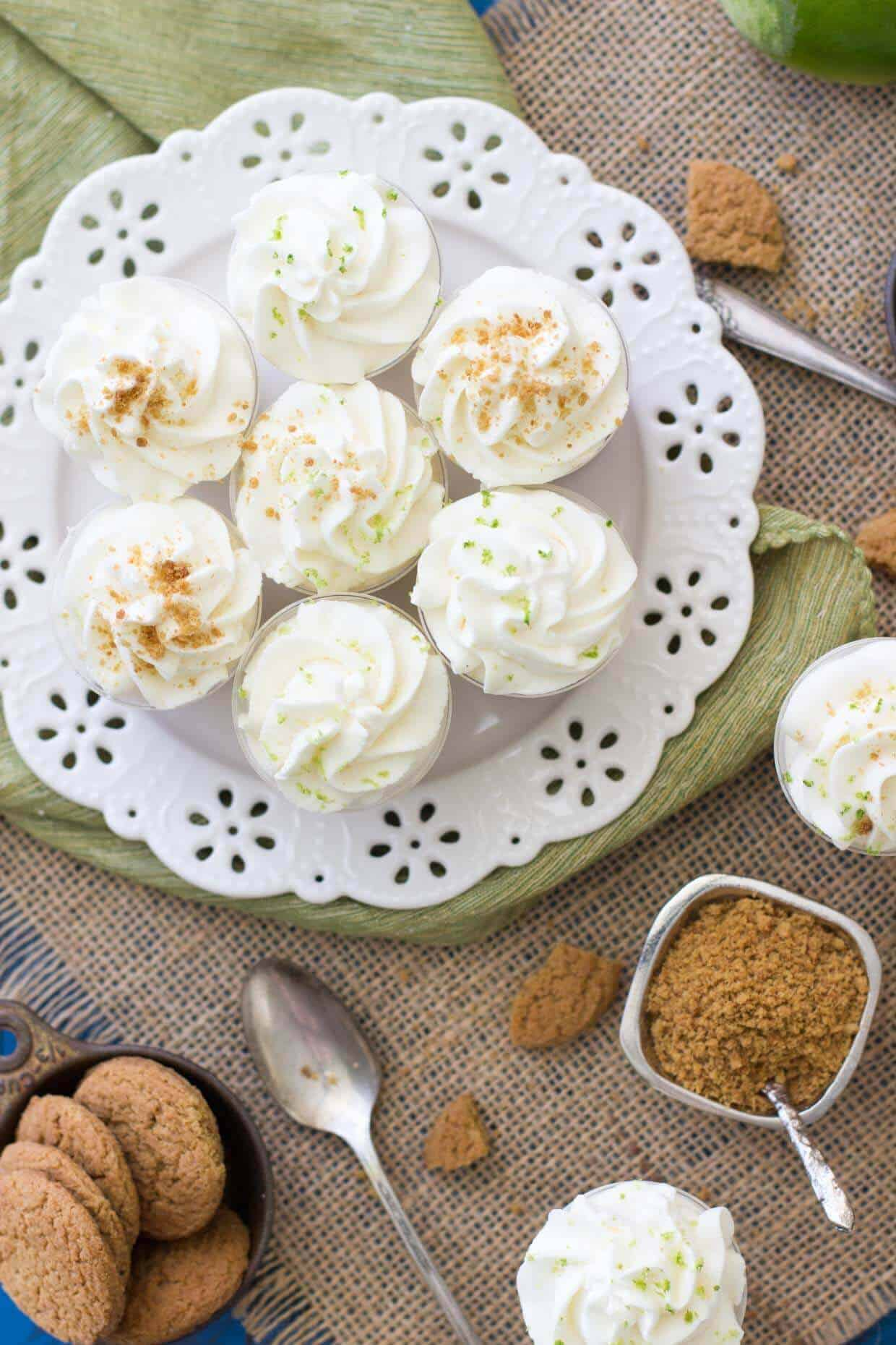 Key lime pie dessert shooters with gingersnap crust -- via SugarSpunRun
