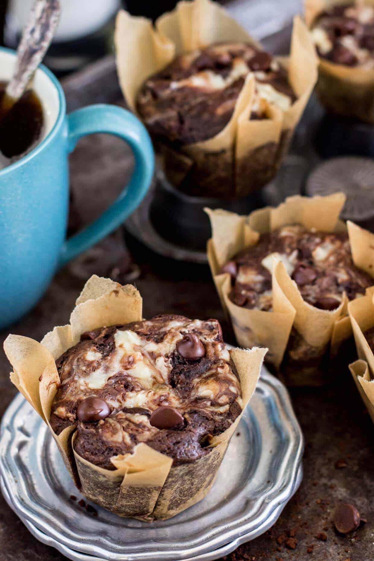 Double Chocolate Cheesecake Muffins - Sugar Spun Run