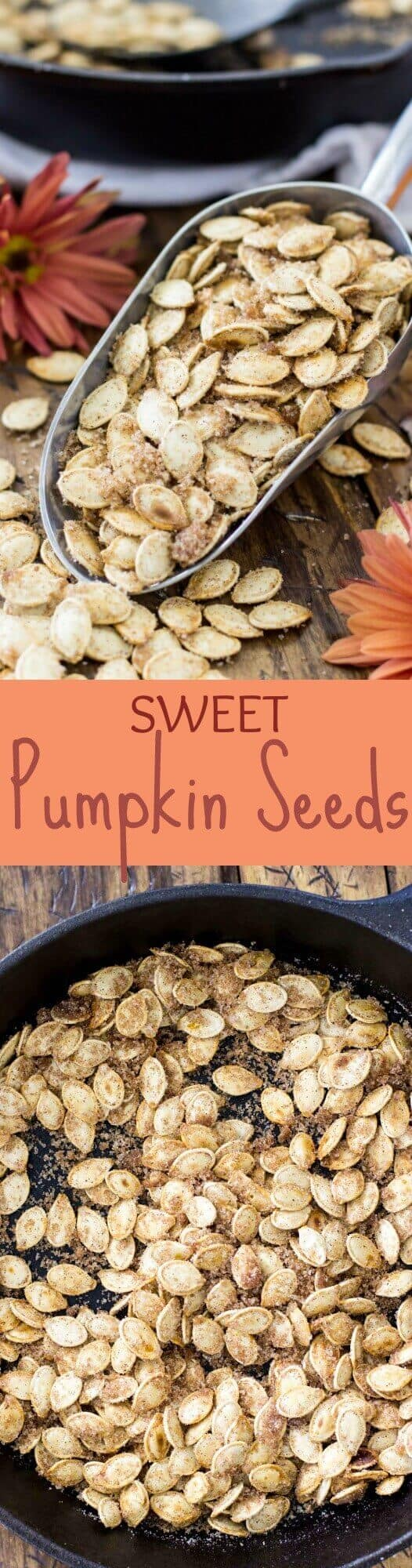 Sweet Pumpkin Seeds! Done in 15 minutes! These use pumpkin spice but you can substitute cinnamon