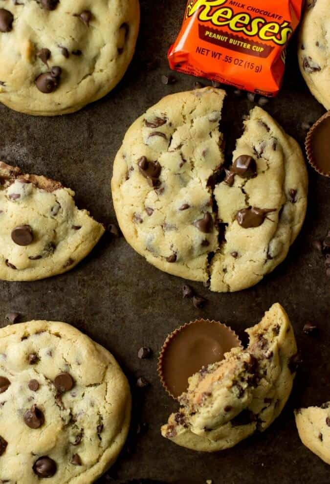 Reese's Peanut Butter Cup Stuffed Chocolate Chip Cookies || Sugar Spun Run