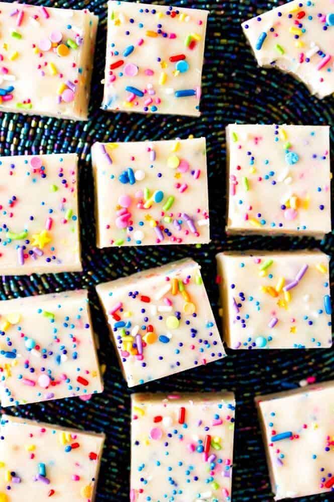 Cake Batter Fudge -- takes just ten minutes to make! || Sugar Spun Run